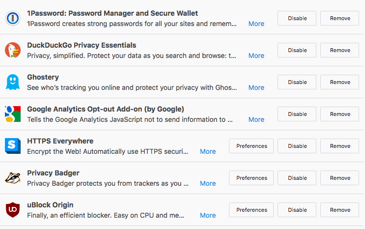 Some) Browser Privacy Settings