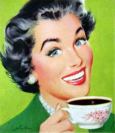 Retro Woman with Coffee