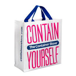 A shopping bag with the words 'contain yourself' on it.