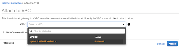 AWS Console: Attach Internet Gateway to VPC