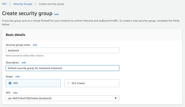 AWS Console: Create Security Group