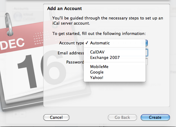 iCal add account