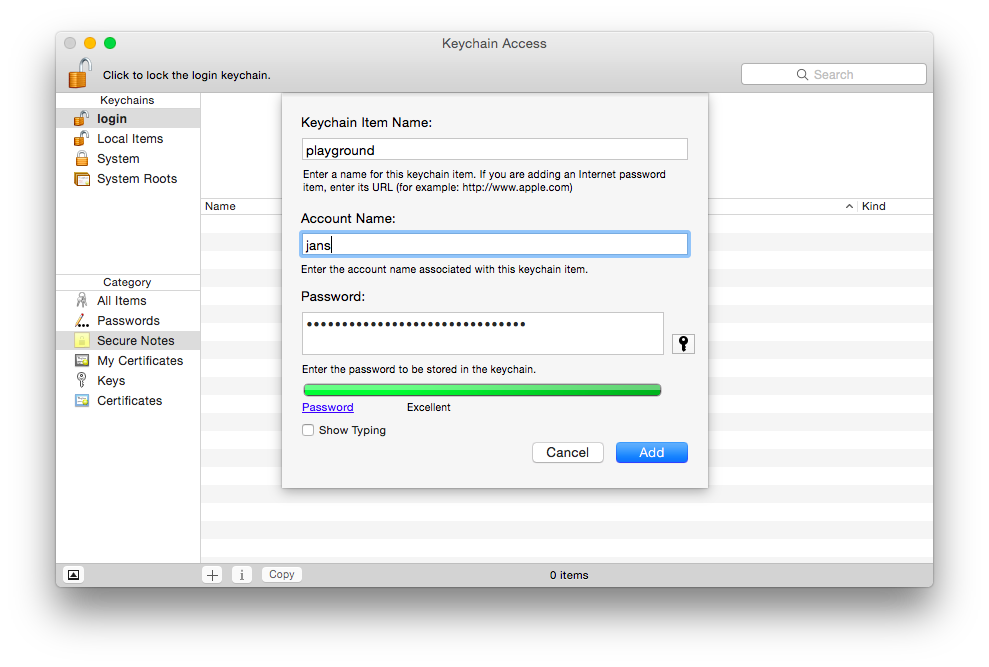 Using the OS X Keychain to store and retrieve passwords