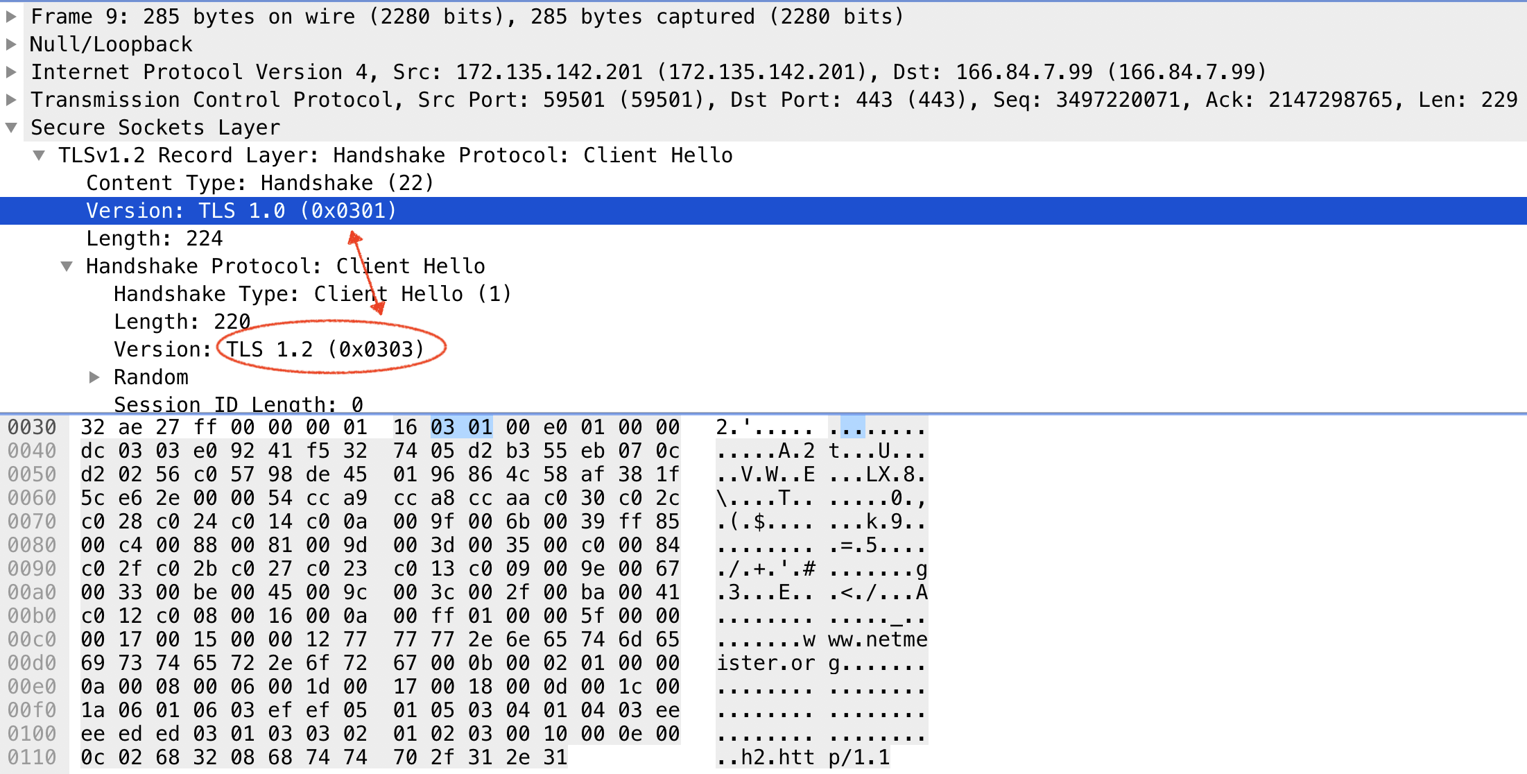 Capturing specific SSL and TLS version packets using tcpdump(8)
