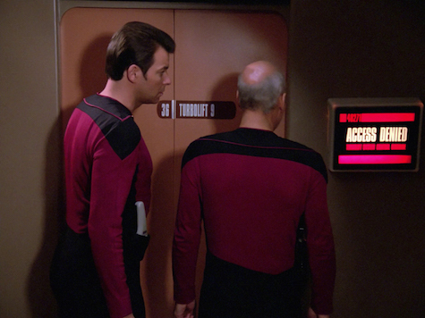 Picard and Riker are denied access to the turbolift