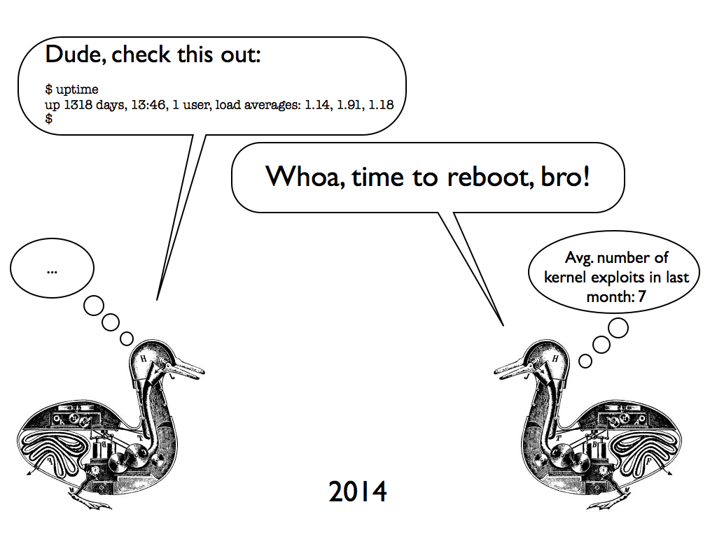 two ducks discussing uptime in 2014