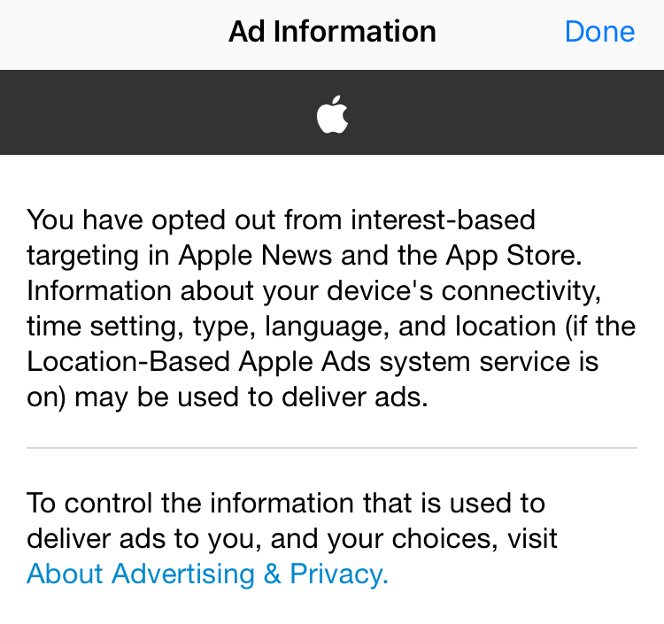 Settings->Privacy->Advertising->View Ad Information
