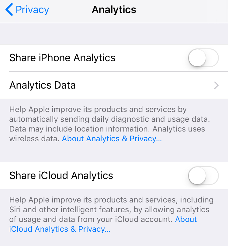 Settings->Privacy->Analytics