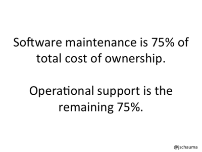 Software maintenance is 75% of total cost of ownership. Operational support is the remaining 75%.